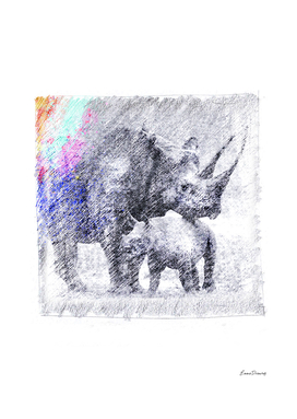 Rhinoceros: classic sketch, pastel drawing, colorful