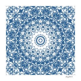 Blue and White Lace Mandala