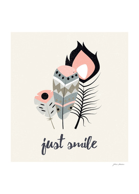 Just smile tribal feathers