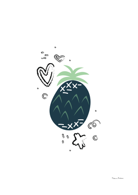 Hand-drawn pineapple with doodles.