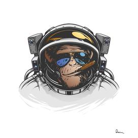 chimpanzee monkey illustration outer space