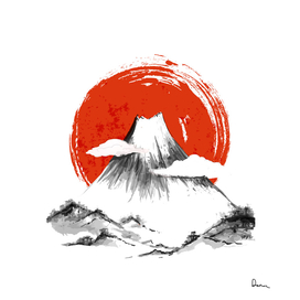 Mount Fuji Mountain Ink Wash Painting