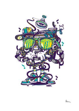 Hip hop graffiti shoe cartoon robot