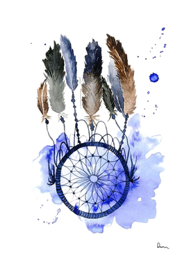 Dreamcatcher Watercolor Painting Dream Feather