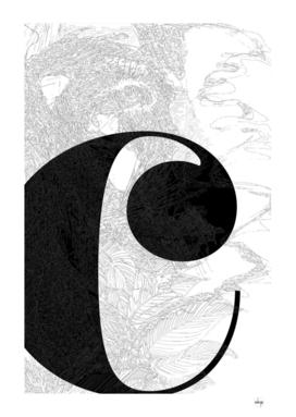 Letter C - entangled black and white