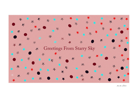 greeting card background with dots and stars