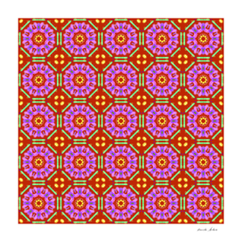 tile geometric pattern using red, pink, green colors