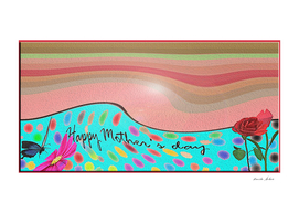 Mother's day greeting card with waves, flowers, dots
