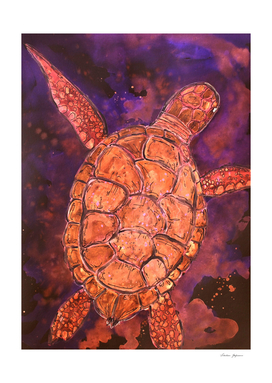 Dreamy Deep Sea Turtle