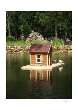 Pond  with bird house on the backdrop of an alphine  slide