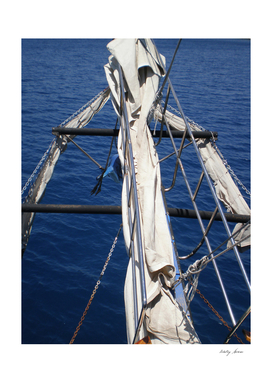 The bow of the ship overlooking the Mediterranean Sea