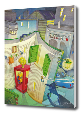 a telephone booth inside a story