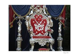 Velvet luxury throne on platform