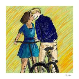Lovers Bike Kiss
