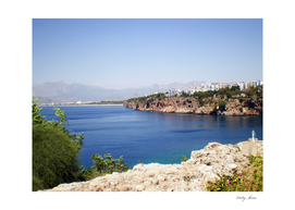 View of the Mediterranean Sea from the port of city Antalya