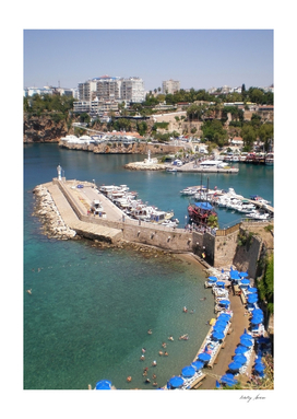 View of the port, beach Mermerly and old city Antalya,Turkey