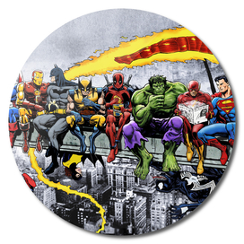More Marvel & DC Superheroes Lunch Atop A Skyscraper