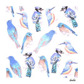 Blue birds in mosaic effect