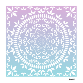 Floral mandala in soft chalky pastel colors