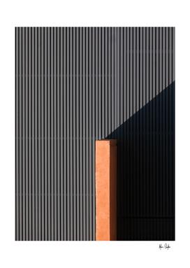 Orange Corner on Gray Stripe