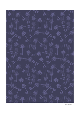 Indigo blue Small palms pattern