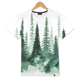 tree watercolor painting pine forest