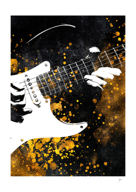 Guitar music art gold and black #guitar #music