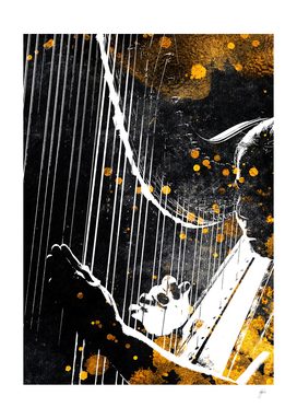Harp music art gold and black #harp #music