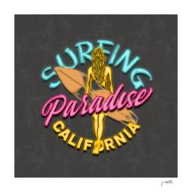 California Surfing Neon Lights