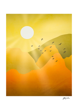 Mountain Layer Landscape Sunset