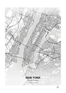 New york city map white