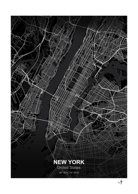 New york city map black