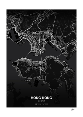 Hong Kong City map black