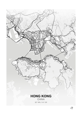 Hong Kong City map White