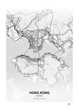 Hong Kong City map White