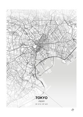 Tokyo Japan city map white