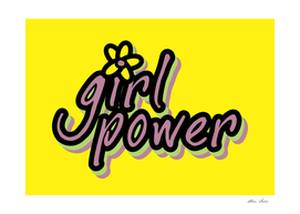 Girl Power, Girls Poster, with flower, landscape yellow