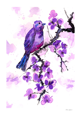Purple Bird and Blossoms