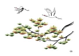 Asian ink cranes