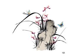 Asian ink butterflies