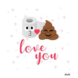 Romantic poop and toilet tissue couple