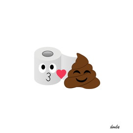Poop and toilet tissue couple showing love