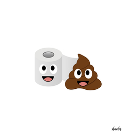 Poop and toilet tissue in love