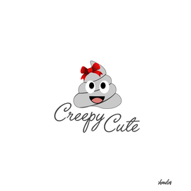 Creepy cute female poop with a red ribbon on hair
