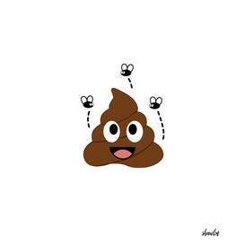 Stinking poop with flies around