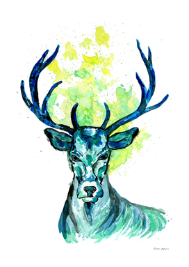 Blue Deer in the Headlight
