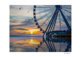 Great Wheel at Sunset with Birds Reflected