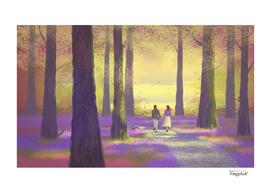 Promenade dans le bois aux jacinthes