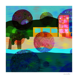 abstract design with circles, trees, windows, beach