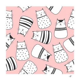 cute cats cartoon seamless pattern